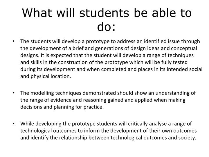 What will students be able to do