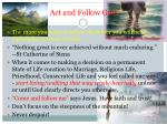 act and follow god