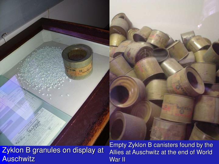 Empty Zyklon B canisters found by the Allies at Auschwitz at the end of World War II