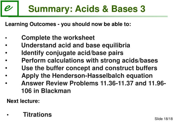 Summary: Acids & Bases 3