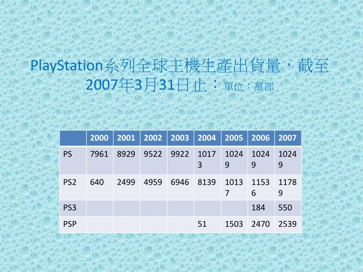 PlayStation系列全球主機生產出貨量,截至2007年3月31日止