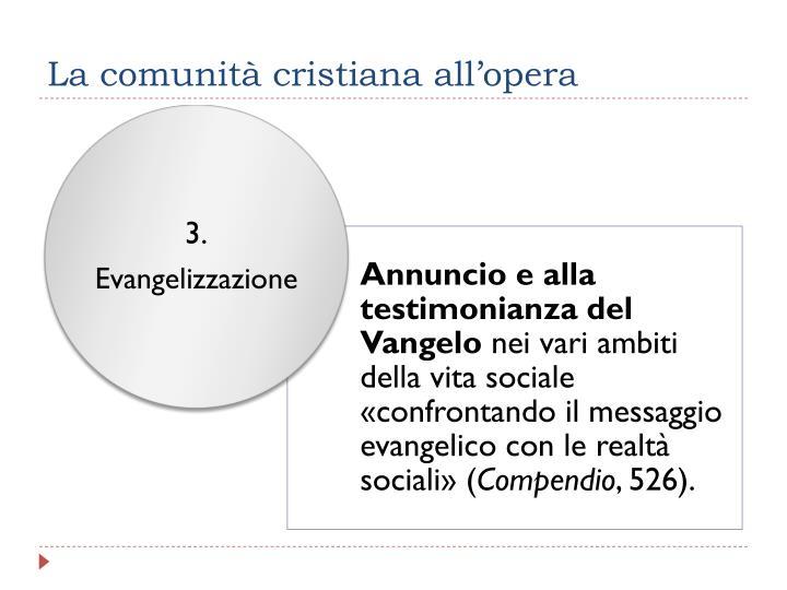 La comunità cristiana all'opera