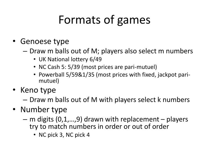 Formats of games