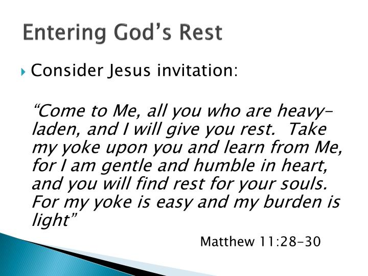 Entering God's Rest