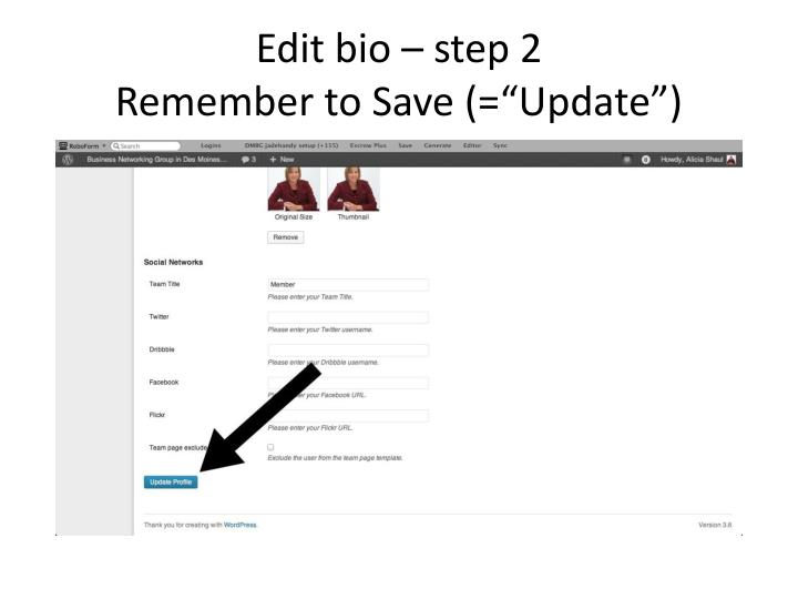 Edit bio – step 2