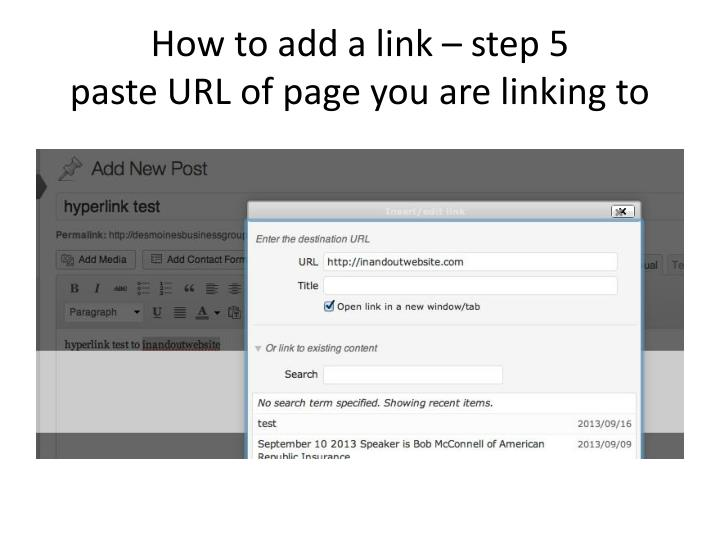 How to add a link – step 5