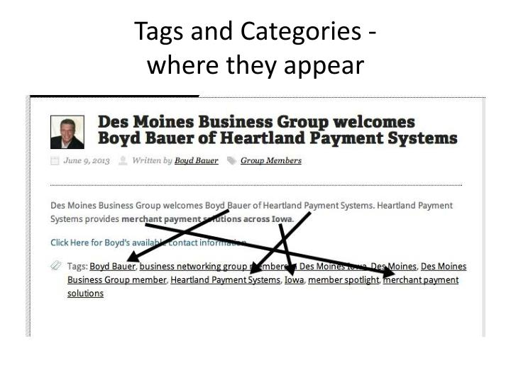 Tags and Categories -