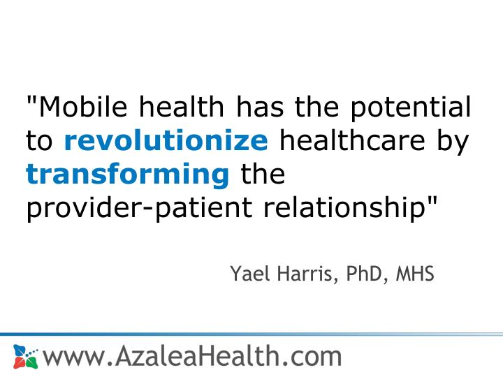 """Mobile health has the potential to"
