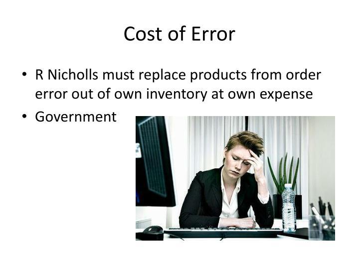 Cost of Error
