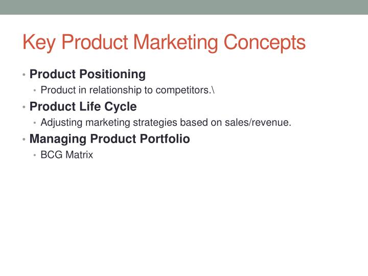Key product marketing concepts