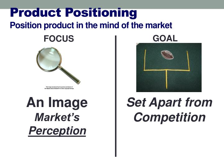 Product positioning p osition product in the mind of the market