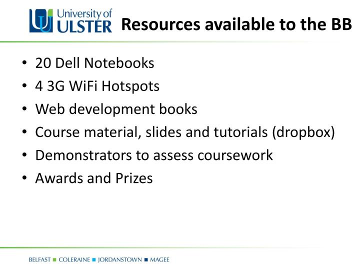 Resources available to the BB