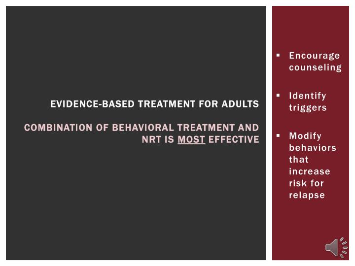 Evidence-based treatment for adults