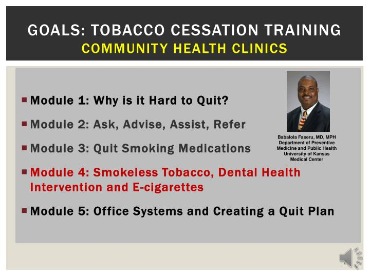 Goals tobacco cessation training community health clinics