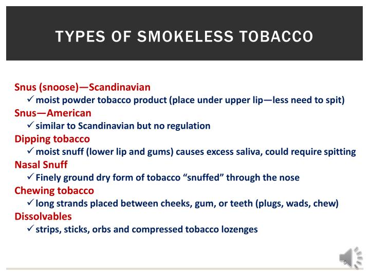 Types of smokeless tobacco