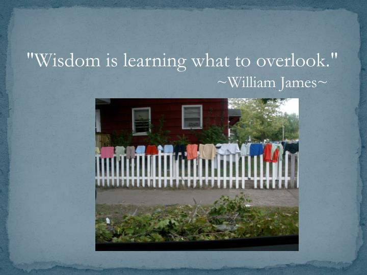 """Wisdom is learning what to overlook."""