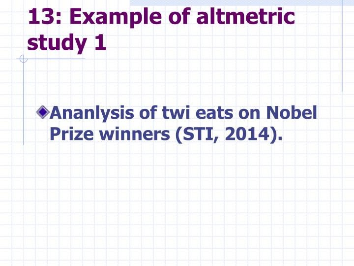 13: Example of altmetric study