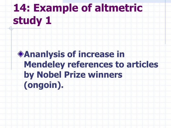 14: Example of altmetric study