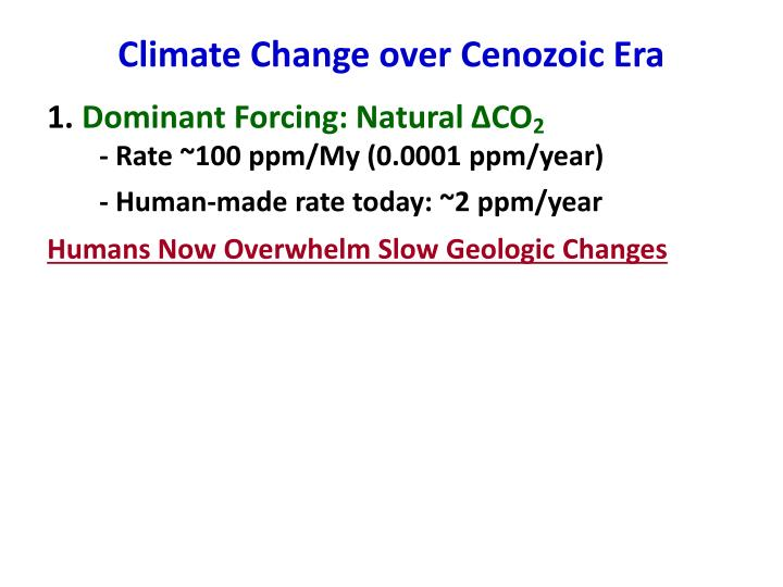 Climate Change over Cenozoic Era