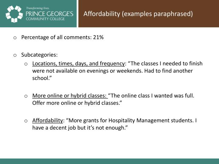 Affordability (examples paraphrased