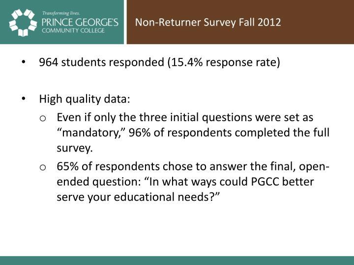 Non-Returner Survey Fall 2012