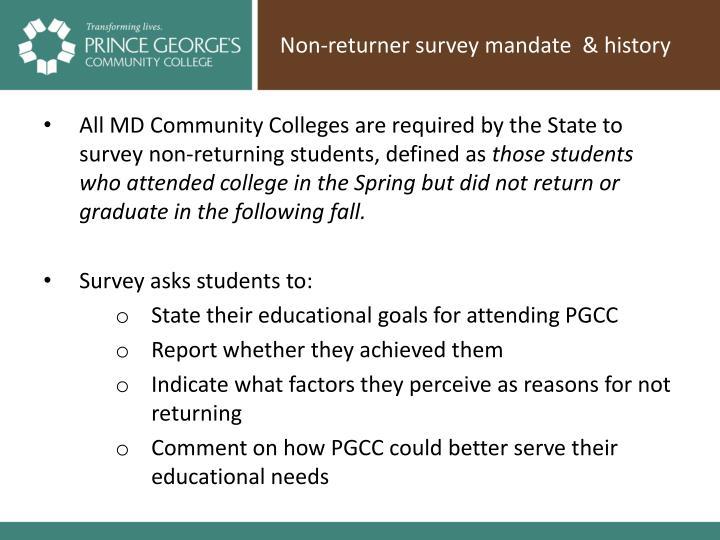 Non-returner survey mandate  & history