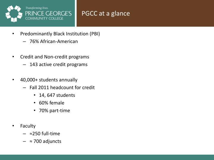 Pgcc at a glance