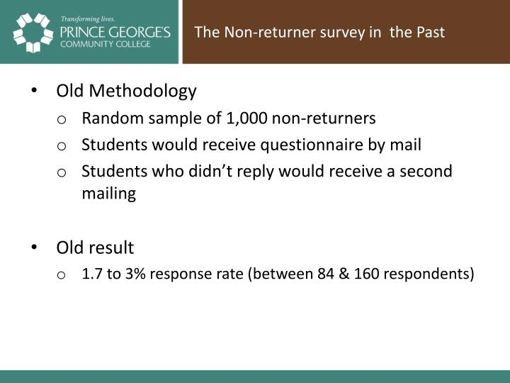 The Non-returner survey in  the Past