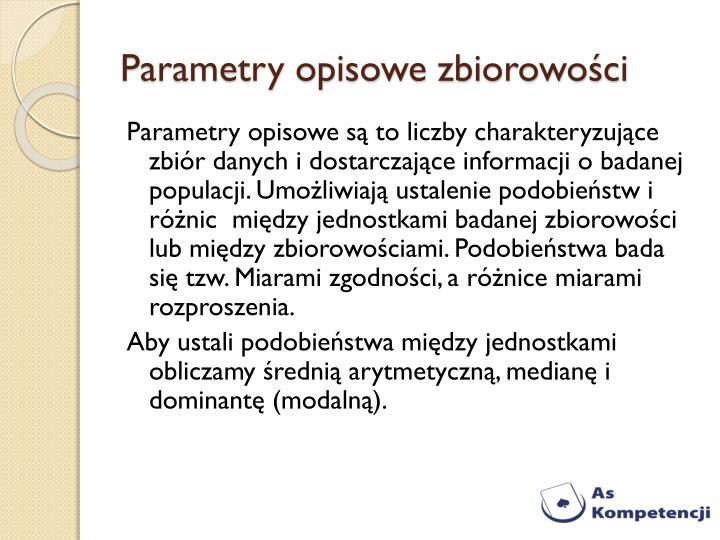 Parametry opisowe zbiorowości
