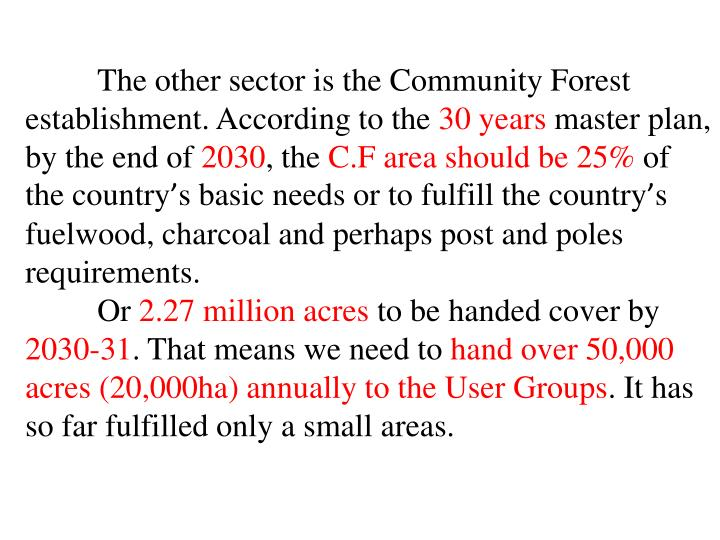 The other sector is the Community Forest establishment. According to the