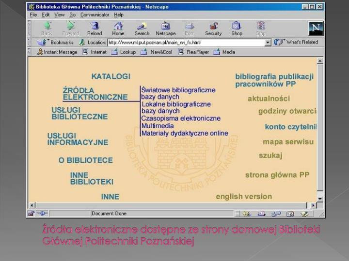 Źródła elektroniczne dostępne ze strony domowej Biblioteki Głównej