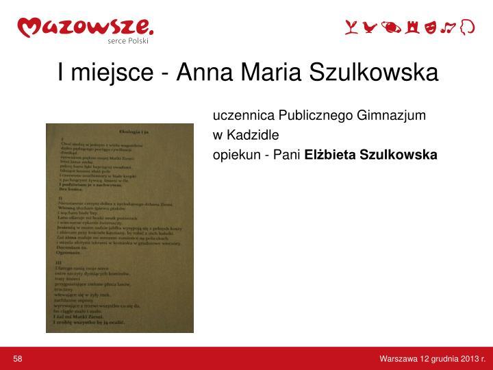 I miejsce - Anna Maria