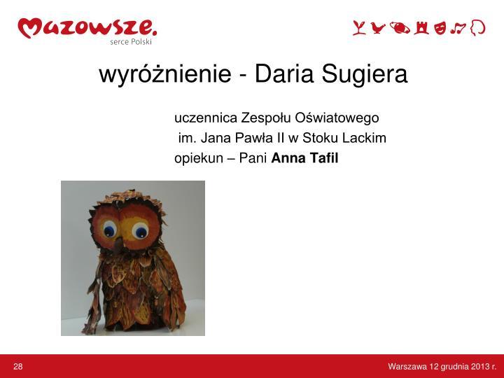 wyróżnienie - Daria Sugiera