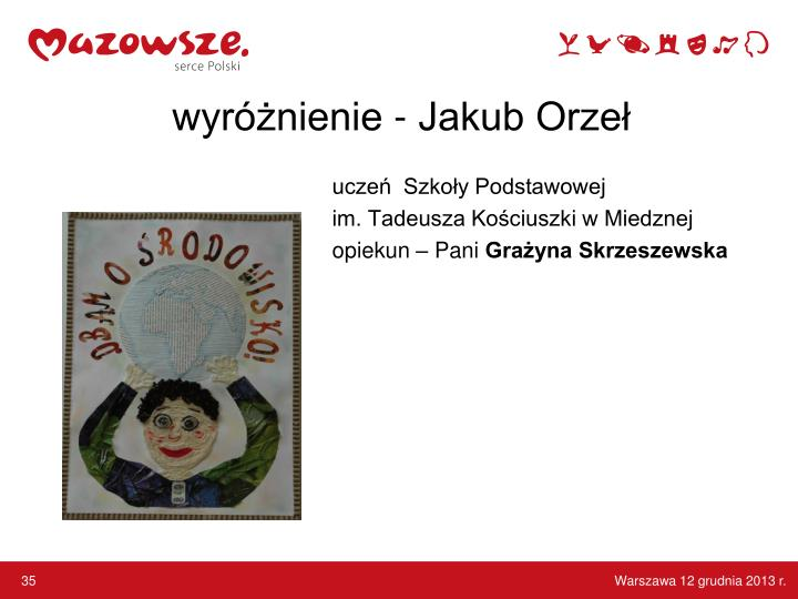wyróżnienie - Jakub Orzeł
