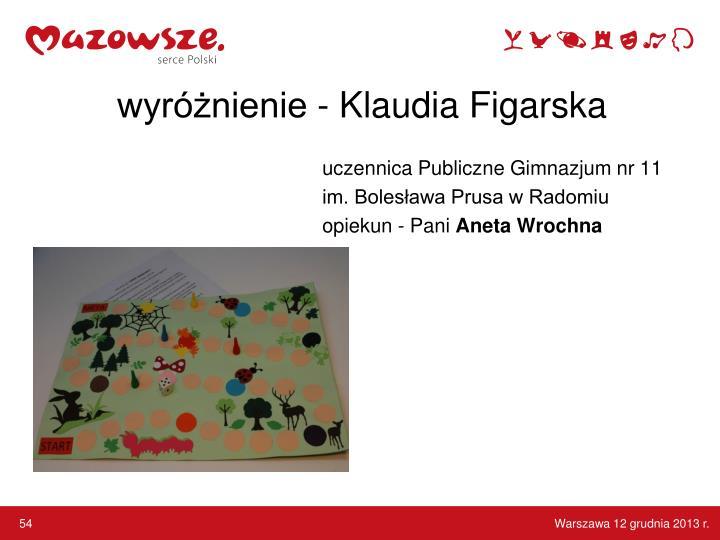 wyróżnienie - Klaudia Figarska