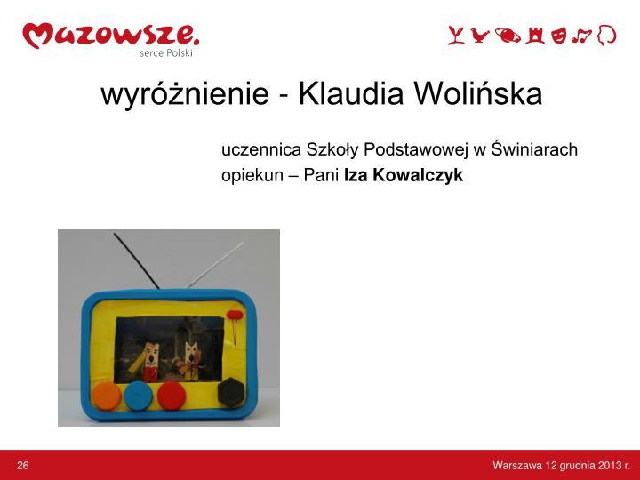 wyróżnienie - Klaudia Wolińska