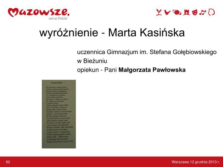 wyróżnienie - Marta Kasińska