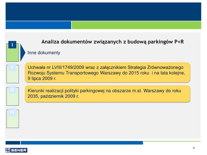 Analiza dokumentów związanych z budową parkingów P+R