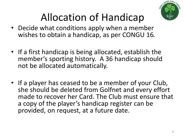 Allocation of Handicap