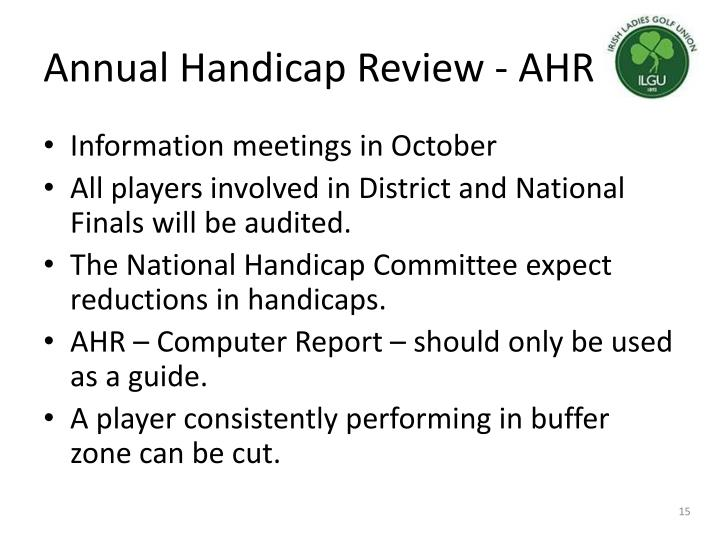 Annual Handicap Review - AHR
