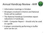 annual handicap review ahr