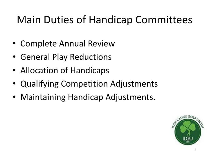 Main duties of handicap committees