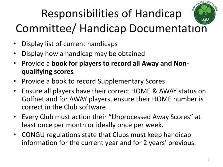 Responsibilities of Handicap Committee/ Handicap Documentation