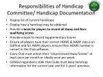 responsibilities of handicap committee handicap documentation