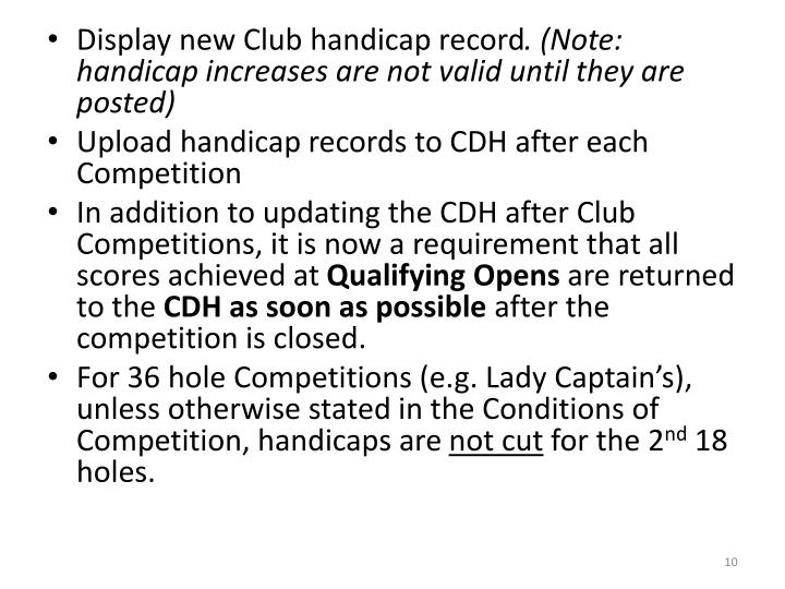 Display new Club handicap record