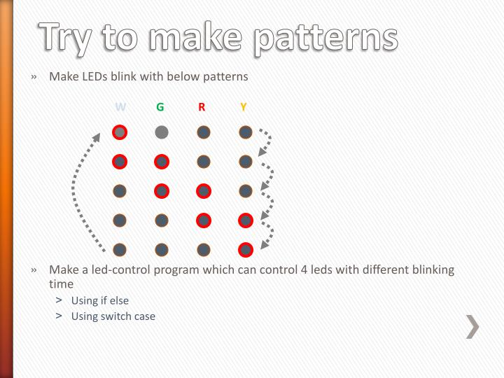 Make LEDs blink with below patterns