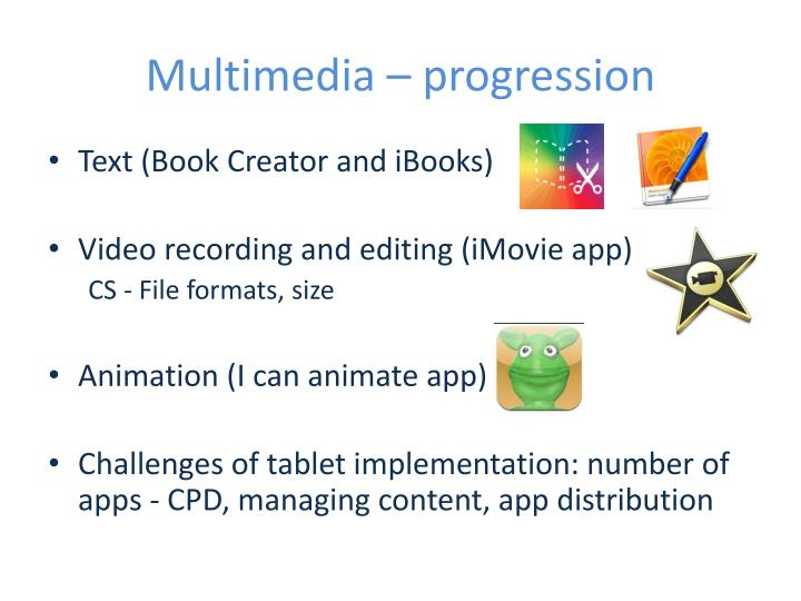 Multimedia – progression