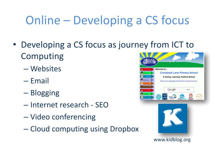 Online – Developing a CS focus