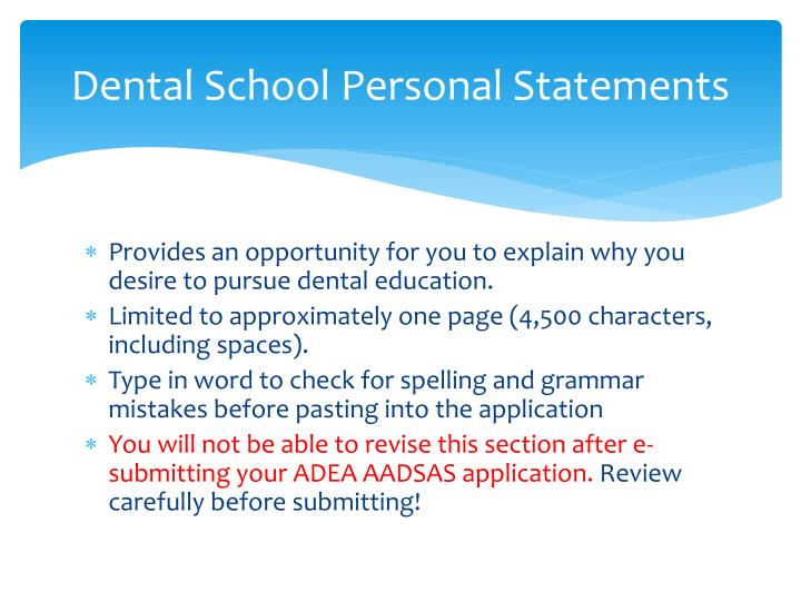 Dental School Personal Statements
