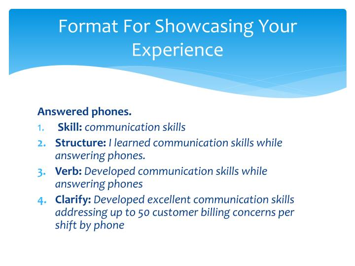 Format For Showcasing Your Experience